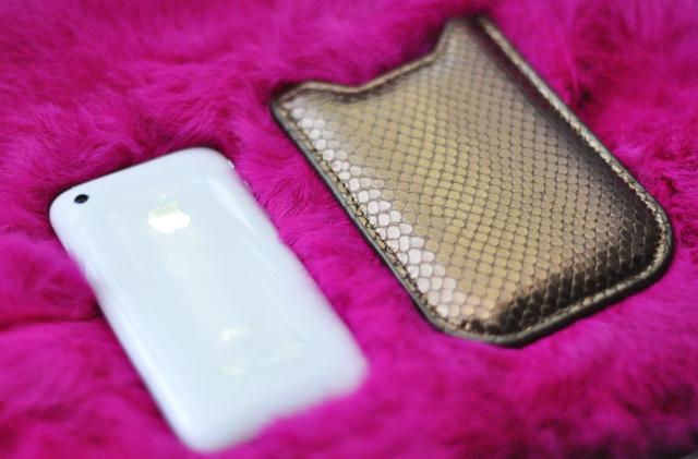 white iPhone & Graphic Image  bronze python case