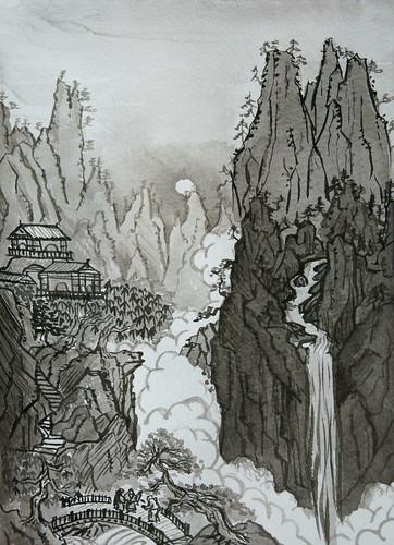 『曾我蕭白 虎渓三笑図』の模写(H16.5cm W12cm)