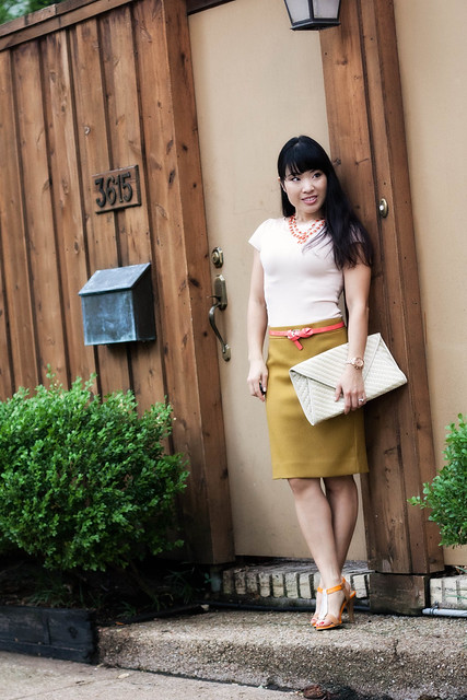 bebe pink top j. crew double serge bronzed ochre skirt coral belt amrita singh nello necklace emyloo calista sandals