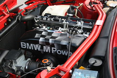 BMW M3 E30 Evo Engine (zahn-i) Tags: auto red 3 car race power 4 engine m explore coche cylinder bmw series motor division m3 e30 evo beemer motorsport intake bimmer 3er zylinder   lackiert   gmbh ansaugung brilliantrot domstrebe