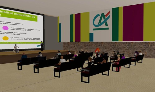 One of Credit Agricole\'s training rooms in Second Life (photo courtesy of Stonefield Inworld)