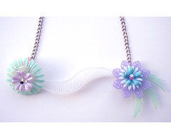 Aqua and Lavender Vintage Flowers Necklace