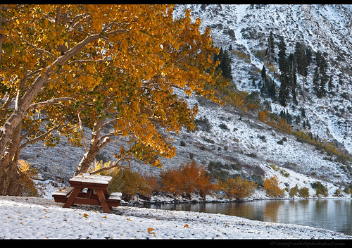 convict lake convictlake eastern sierra easternsierra fall foliage snow winter california photofool