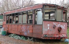 Abandoned trolley (ribizlifozelek) Tags: red car train utah ut trolley saltlakecity