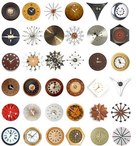 Mid-century clocks, via blueantstudio