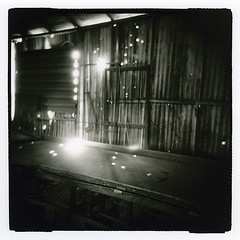 Little pins of light (Otto K.) Tags: atlanta light bw building abandoned 6x6 film shop wall darkroom mediumformat georgia print table blackwhite holga industrial welding toycamera retro plastic squareformat rodinal deserted decayed ue 120n urbex ottok rolleiretrofilm