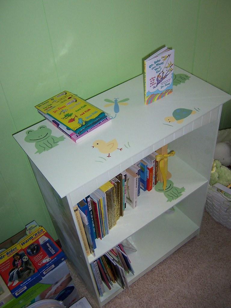custom-painted bookshelf