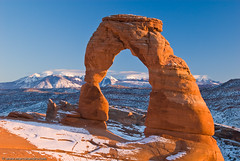 Utah's Icon - Delicate Arch (Marc Shandro) Tags: blue winter sunset sky snow utah clear gettyimages delicatearch