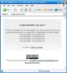 scuffproof box Internet Explorer 6