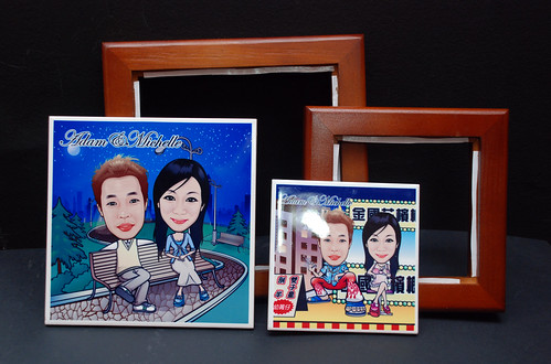 caricatures on ceramic tile with frame 5