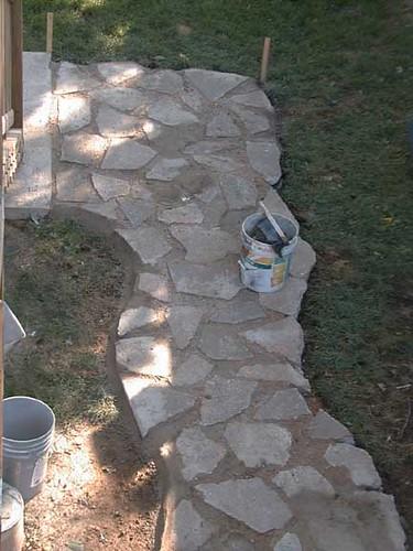Reclaimed concrete walkway