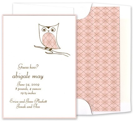 luscious verde owl baby birth announcement