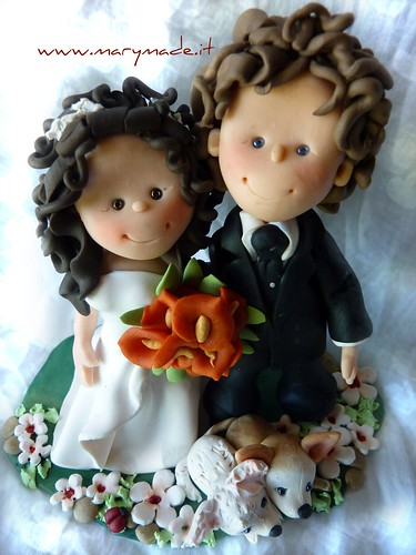 Polymer clay wedding cake topper - Tracy's friends