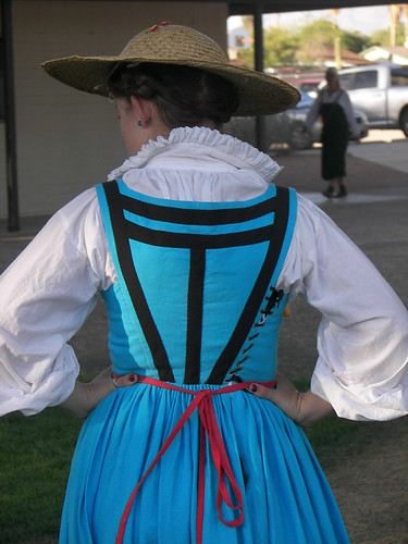 Backview of dress, Turquoise Italian Working-Class Dress on Morgandonner.com