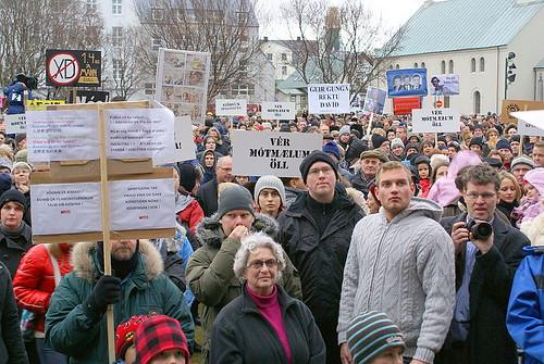 Una manifestacion en Islandia