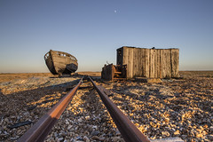 Old Wooden Boat and Shed (SarahO44) Tags: road old uk houses sunset sea moon building beach metal canon boat wooden kent united shed shingle rail railway kingdom pebbles line dungeness dilapidated 6d