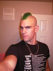Green Mohawk - The Green Hornet (Flatboy) Tags: haircut man hot men green smooth shaved shave mohawk hornet razor