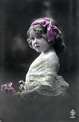 Vintage Postcard ~ Little Sweetie (chicks57) Tags: flowers girl atc angel children child aceo littlegirl