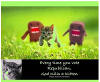 Everytime you vote Republican, God kills a kitten.