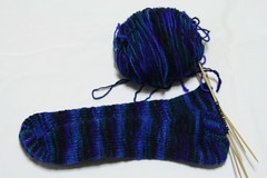 First toe-up sock