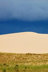 Grass, Sand, & Sky (Michael Bollino) Tags: world travel blue sky nature grass clouds landscape sand asia view dunes tibet plain