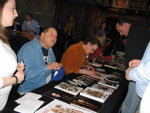 Stephen Furst and Mark Metcalf sign for fans