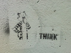 THINK (nonesuch) Tags: graffiti stencil phone think blues maybe taxes taxpayer hobbes pedestriantunnel schenleypark walkingthedog bythepool almostdonewithmytaxes haveyouseentheshoppingbagwithmybusinessreceipts imsureitsaroundheresomewhere
