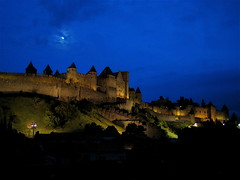 Carcassonne: view at night from the hotel terrace