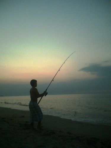 Thing 1 fishing in the Sunset
