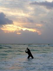 Evening Fishing (WinPins) Tags: ocean sunset sea sun silhouette clouds fishing waves photofaceoffwinner pfogold