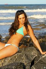 on the beach (beautiful valery) Tags: ocean summer woman usa sun cute beach girl beauty topv111 lady dark hair see virginia nice model topv555 topv333 perfect long pretty stones topv444 topv222 atlantic
