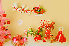 Merry Kitschmas! (boopsie.daisy) Tags: christmas pink decorations red holiday tree vintage kitsch apples decor strawberryshortcake mantle bradleydoll pinktree