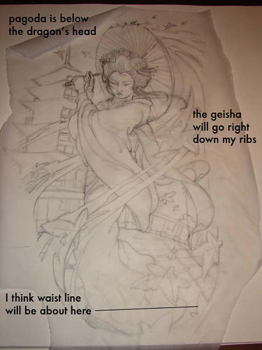 Tattoo Drawing - Geisha. This is the second part of my first tattoo that I