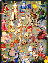 The Fairytale Follies (Lisa Kettell) Tags: carnival rabbit halloween fairytale vintage stars pumpkin toys witch wizard circus postcard magic digitalart pixie elf fairy goblin troll wonderland vintageimages madhatter magician alteredart mothergoose vintageillustration lisakettell