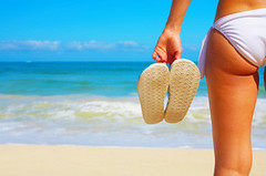 Summer Shoes (ellenvanree) Tags: ocean travel sea party summer wallpaper vacation sky woman white holiday hot sexy beach water sunshine swimming relax hawaii healthy sand holding shoes waves break peace legs sandals background space room text young calm bikini footwear flipflops tropical destination rest leisure serene relaxation workout fitness copy alternative active regroup