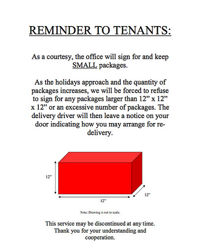 """Reminder to Tenants - Drawing not to scale"""
