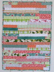 Strippy Doll Quilt (WendysKnitch) Tags: orange green doll quilt fabric quilting strips