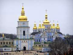 (Leonid Yaitskiy) Tags: blue white church architecture gold europe cathedral ukraine dome kiev kyiv