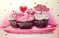 Happy Valentine's Day friends!!! (holiday_jenny) Tags: pink red art vintage painting cupcakes sweet chocolate aaron jenny toppers picks valentinesday everydayisaholiday