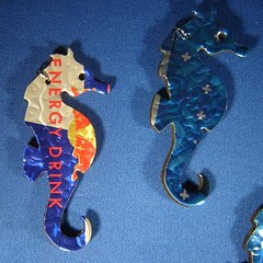 Sea Horse Pin -- Recycled Energy Drink Beverage Can -- 1of 4 photos (Urban Woodswalker) Tags: blue fish water metal shiny colorful pin seahorse handmade brooch jewelery sodapop advertisingart jewelerybroochpinseahorsefishsodapopbluemetalhandmadeshinycolorfulwateradvertisingart