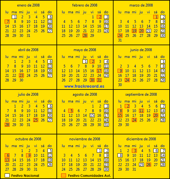 Calendario Laboral España 2008