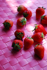 Red on Pink (yoshiko314) Tags: pink red food sunlight fruit strawberry onthetable tableshot d60 55mmf28aismicro