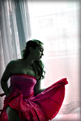 a dress and her girl (ladyinpink) Tags: pink light portrait woman selfportrait color colour window girl hair dress bella hermosa indulgence femininity