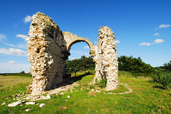 Calceby Church Remains I (Wizard of Wonders™) Tags: old uk blue england sky church clouds nikon ruins village lincolnshire d200 tp remains 1400 wolds freephotos calceby anticando doubledragonawards