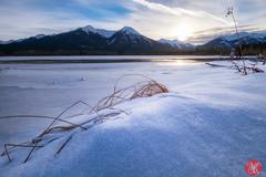 Last light (Kasia Sokulska (KasiaBasic)) Tags: fujix canada alberta vermilionlakes rockies mountains frozen lake landscape