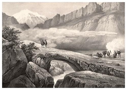 007-Puente del Inca entre Santiago y Mensoza- Andes chilenos-Journal de la navigation autour du globe… 1837-Barón de Bouganville-fuente BOTANICUS