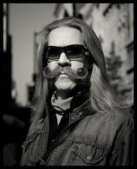 Moustache Rob (Darny) Tags: nyc newyorkcity portrait blackandwhite newyork noiretblanc canonef50mmf18ii webpeople mireasrealm darny 36newyorkers moustacherob