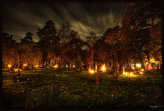 Burning (Kaj Bjurman) Tags: autumn night eos woods sweden stockholm cemetary hdr kaj 2007 cs3 photomatix 40d hdratnight bjurman