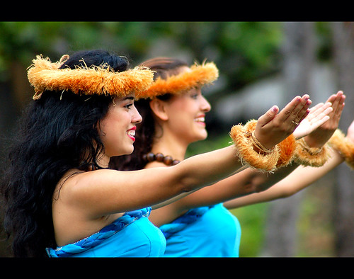 Two Hula Dancers perform in Hawaii
