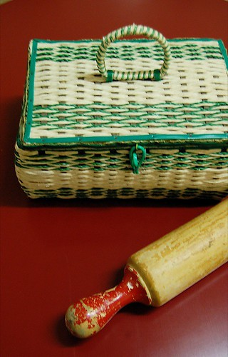 Thrifted - sewing basket and rolling pin
